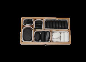 סט 40 אבנים עם ווקס בקופסת במבוק (34 חמות+6 קרות)